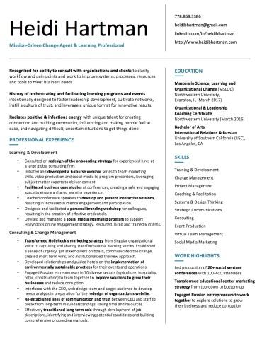 My Resume – Heidi Hartman
